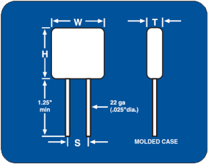 Dimensions for 25V-200V Ceramic Leaded Capacitors Dielectric Options Include NPO Capacitor & X7R Capacitors.